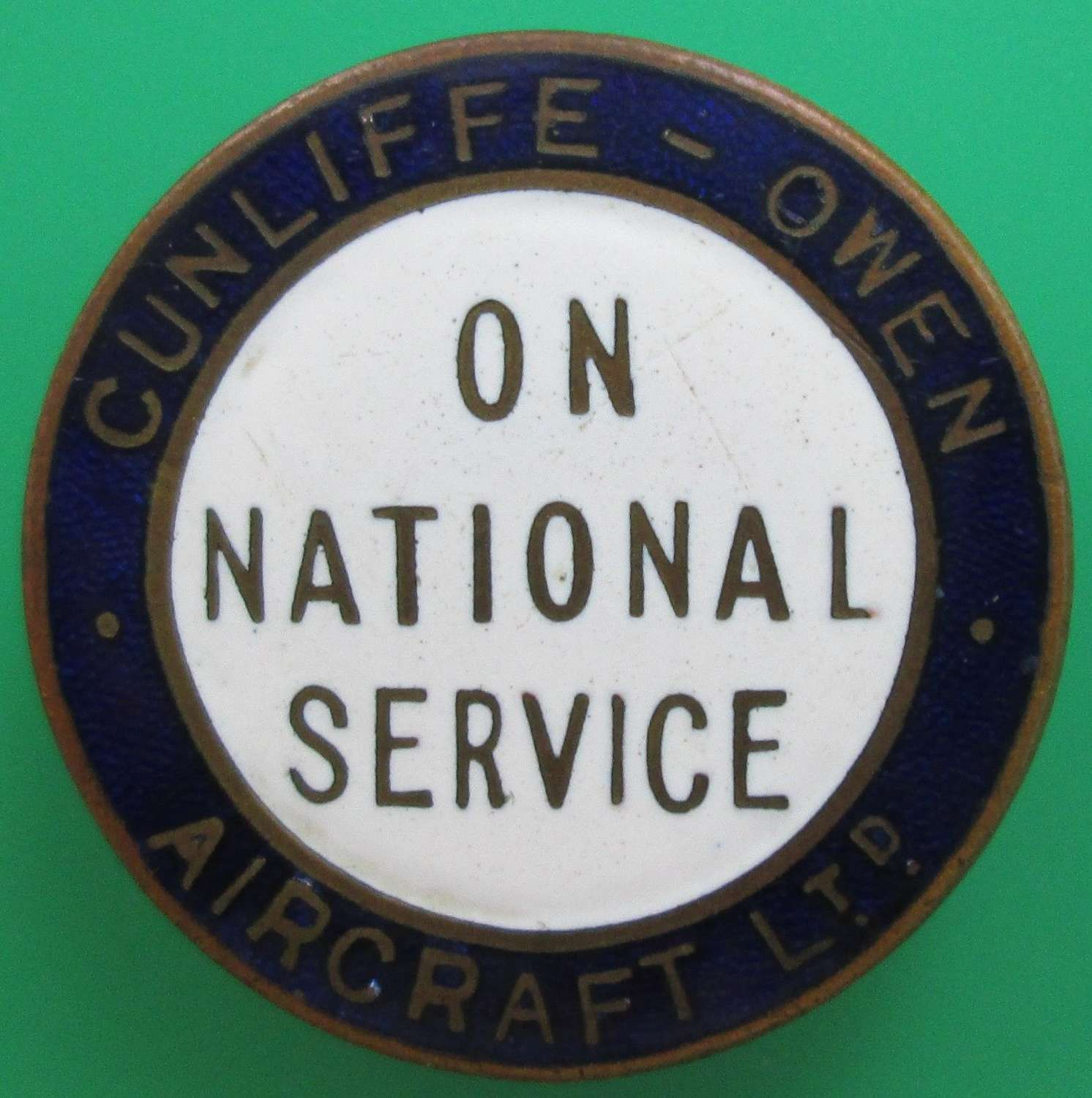 AN ON NATIONAL SERVICE LAPEL BADGE FOR CUNLIFFE OWEN AIRCRAFT LTD