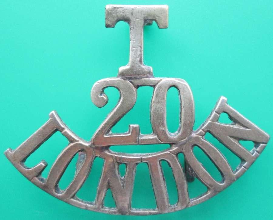 A 20th LONDON REGT SHOULDER TITLE