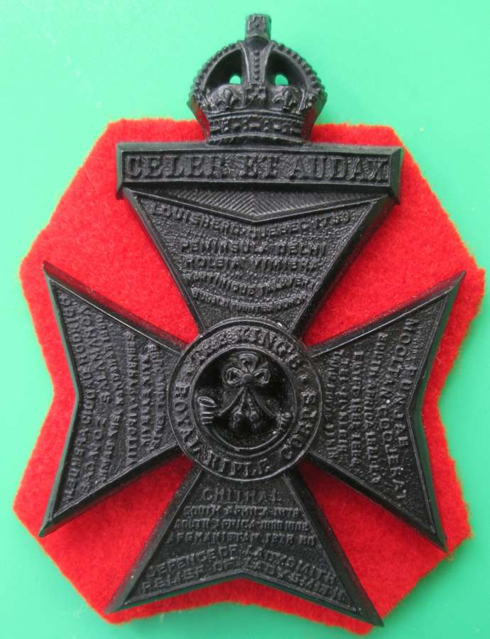 THE KING'S OWN ROYAL RIFLE CORPS PLASTIC CAP BADGE