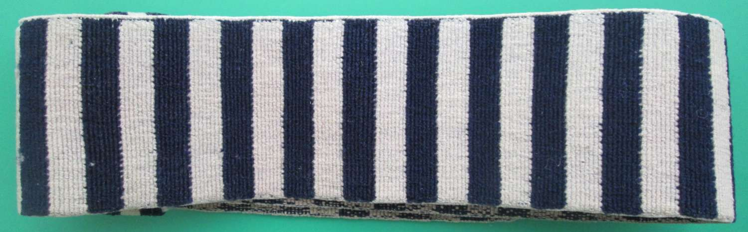 BLUE AND WHITE STRIPED WWII PERIOD MILITARY CONSTABULARY WRIST BAND