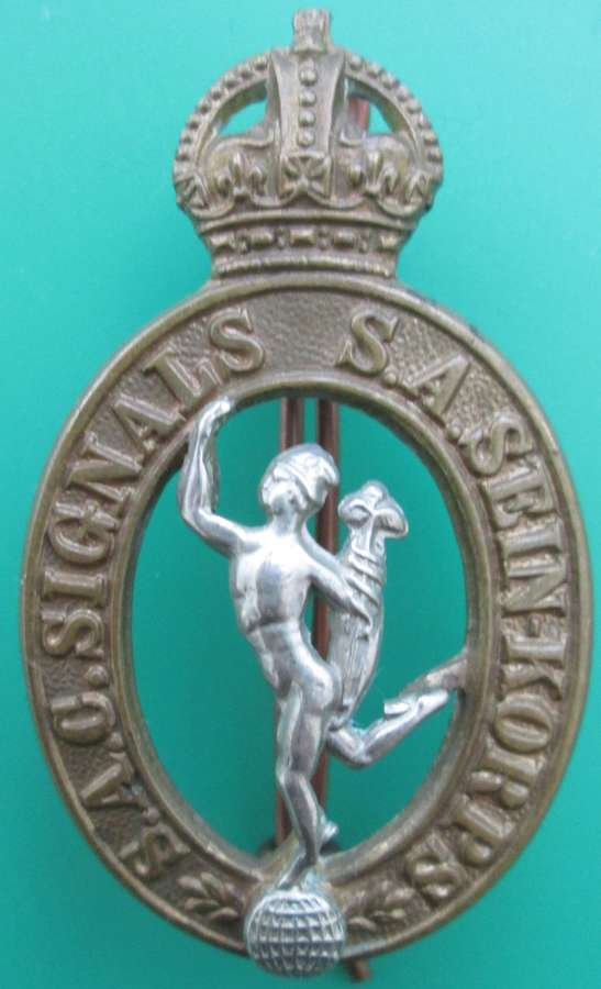 A SOUTH AFRICAN CORPS OF SIGNALS CAP BADGE