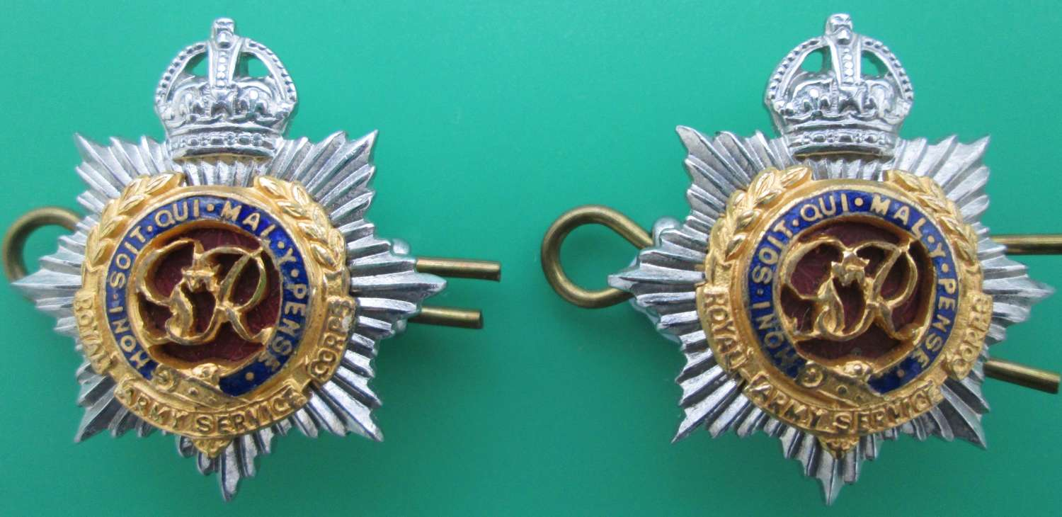 A PAIR OF ROYAL ARMY SERVICE CORPS COLLARS DOGS