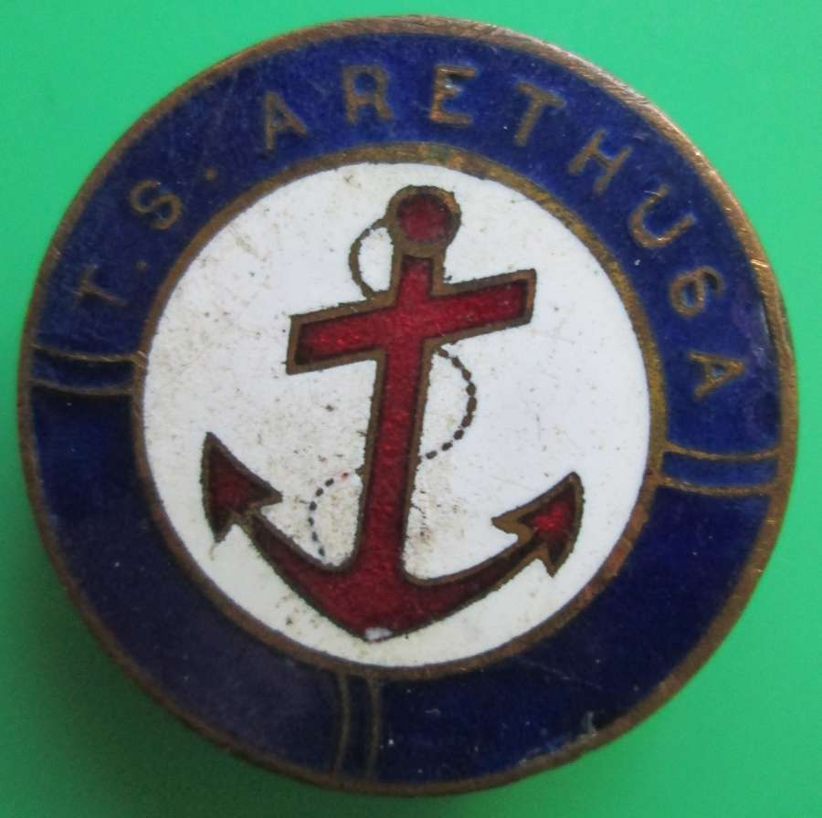 A WWI PERIOD ON WAR SERVICE BADGE FOR THE T.S ARETHUSA