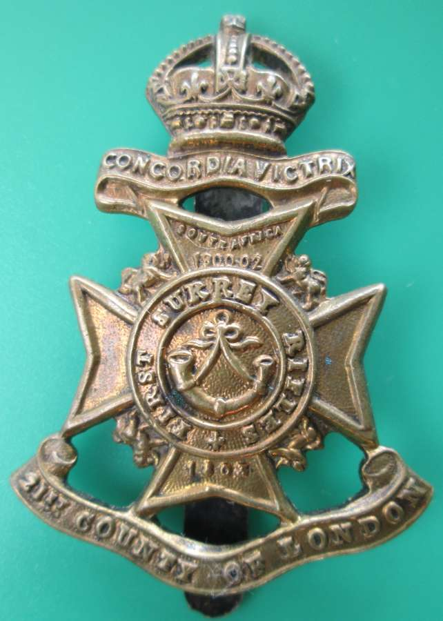 FIRST SURREY RIFLES CAP BADGE