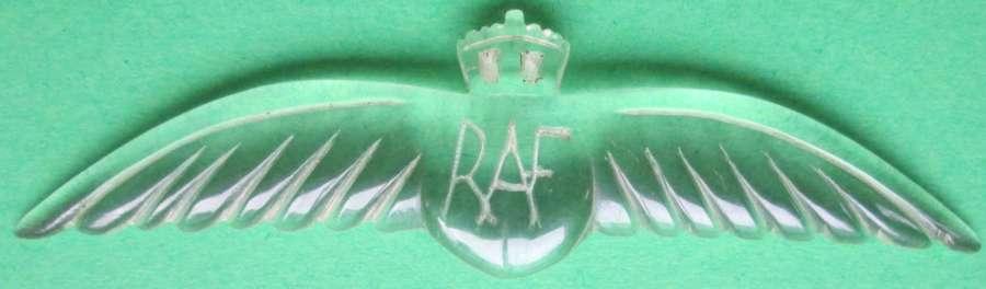 A WWII PERIOD RAF PERSPEX PILOT WING