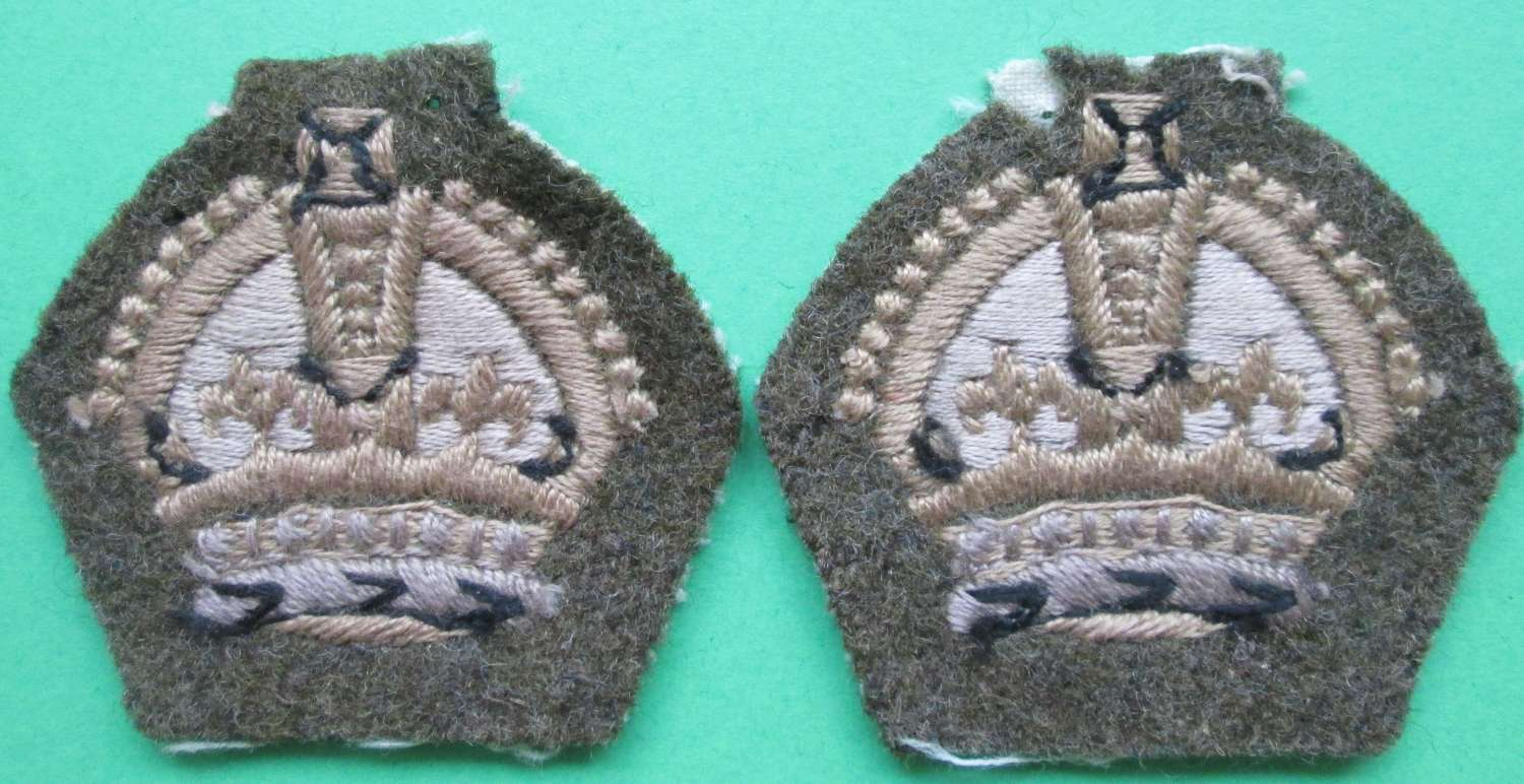 A GOOD MATCHING PAIR OF KINGS SGT MAJORS CROWNS