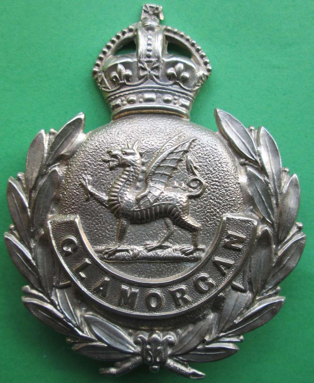 A GLAMORGANSHIRE COUNTY POLICE HELMET BADGE