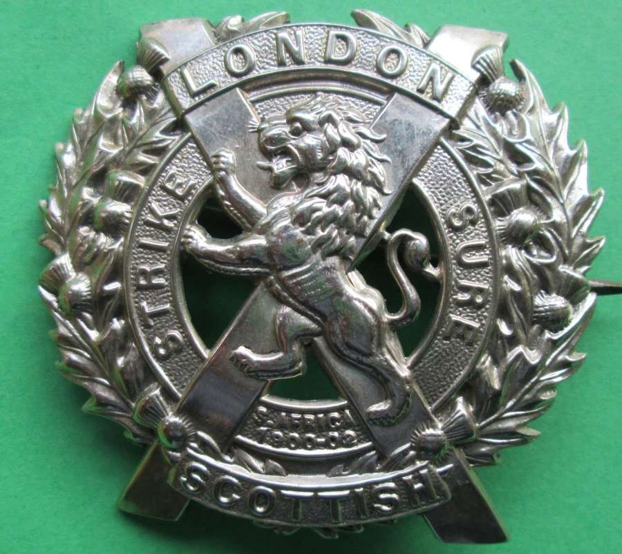 A LONDON SCOTTISH SILVER PLATED GLENGARRY
