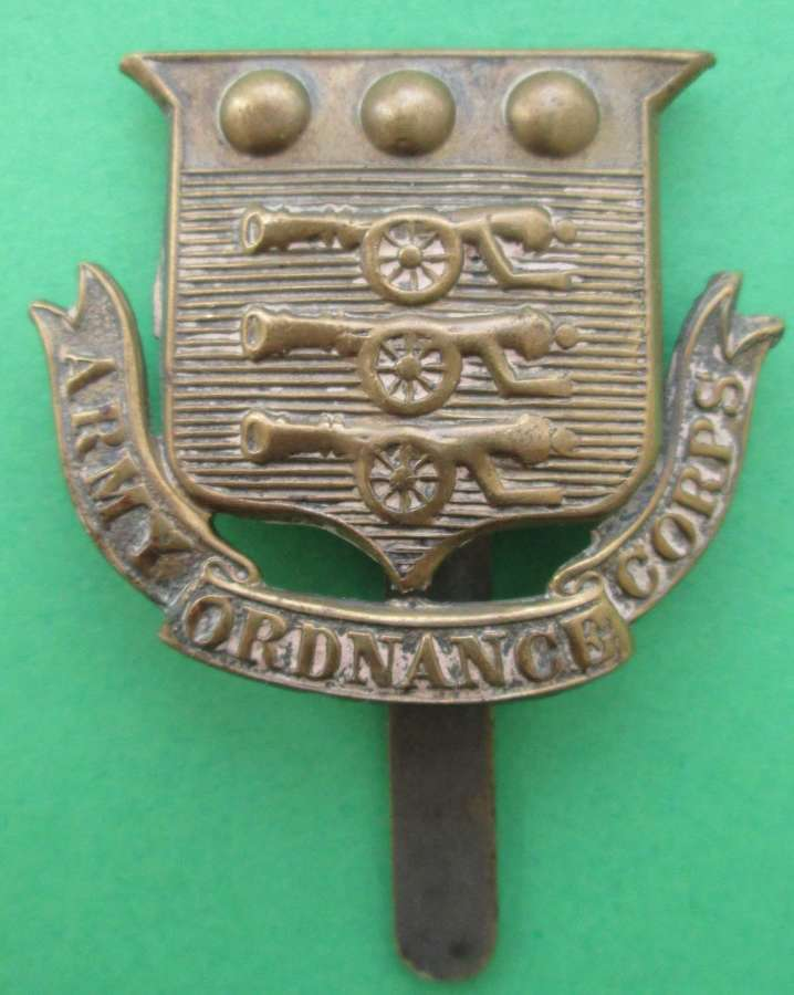 A PRE 1918 ARMY ORDNANCE CORPS CAP BADGE OR'S EXAMPLE