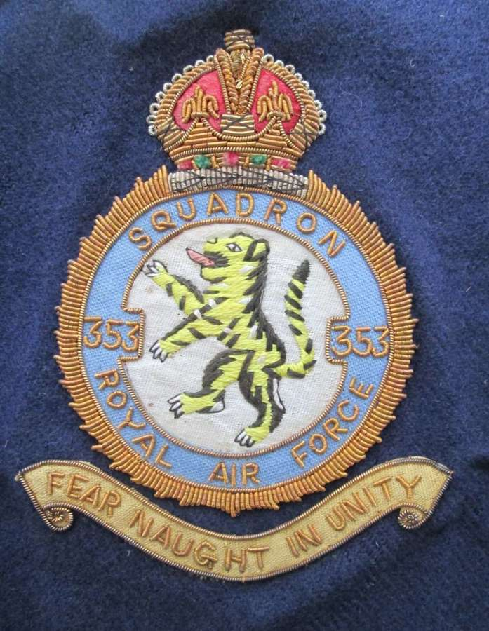 A BULLION WIRE SQUADRON 353 ROYAL AIR FORCE BADGE