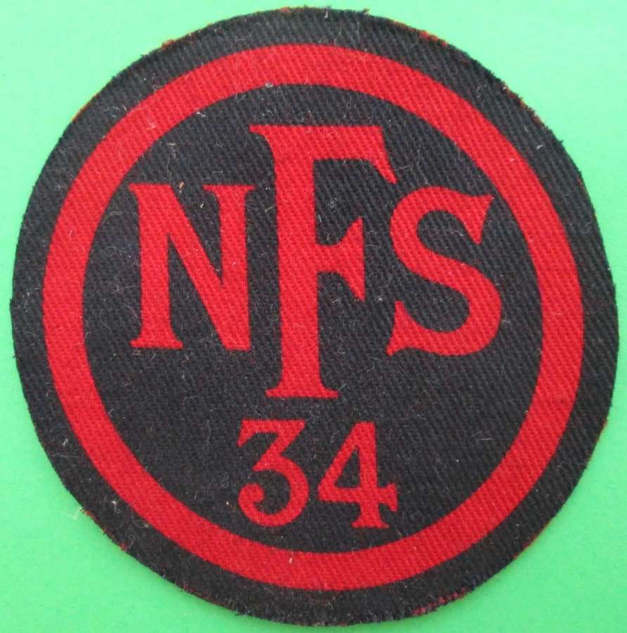 A NATIONAL FIRE SERVICE BADGE AREA 34