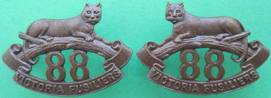A PAIR OF 88 VICTORIA FUSILIERS BRONZE COLLARS