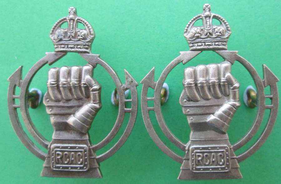 A PAIR OF ROYAL CANADIAN ARMOURED CORPS COLLARS