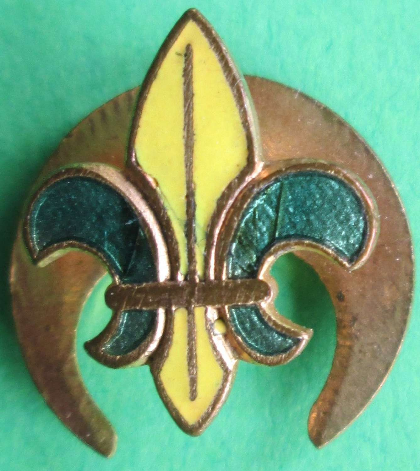 A BOY SCOUTS GREEN AND YELLOW LAPEL BADGE