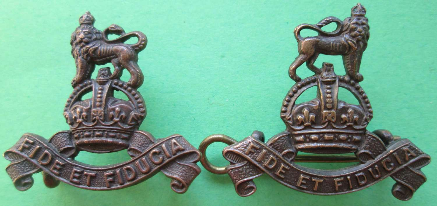 OFFICER'S BRONZE ARMY PAY CORPS COLLAR DOGS