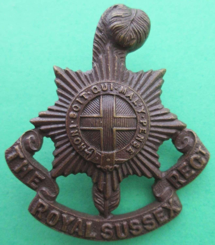 ROYAL SUSSEX REGIMENT BRONZE OFFICERS BADGE