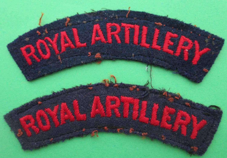 ROYAL ARTILLARY SHOULDER TITLES