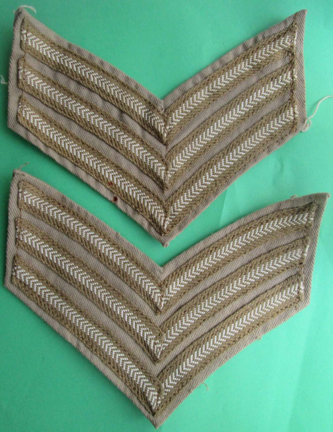 A PAIR OF WWII PERIOD TROPICAL SGTS STRIPS