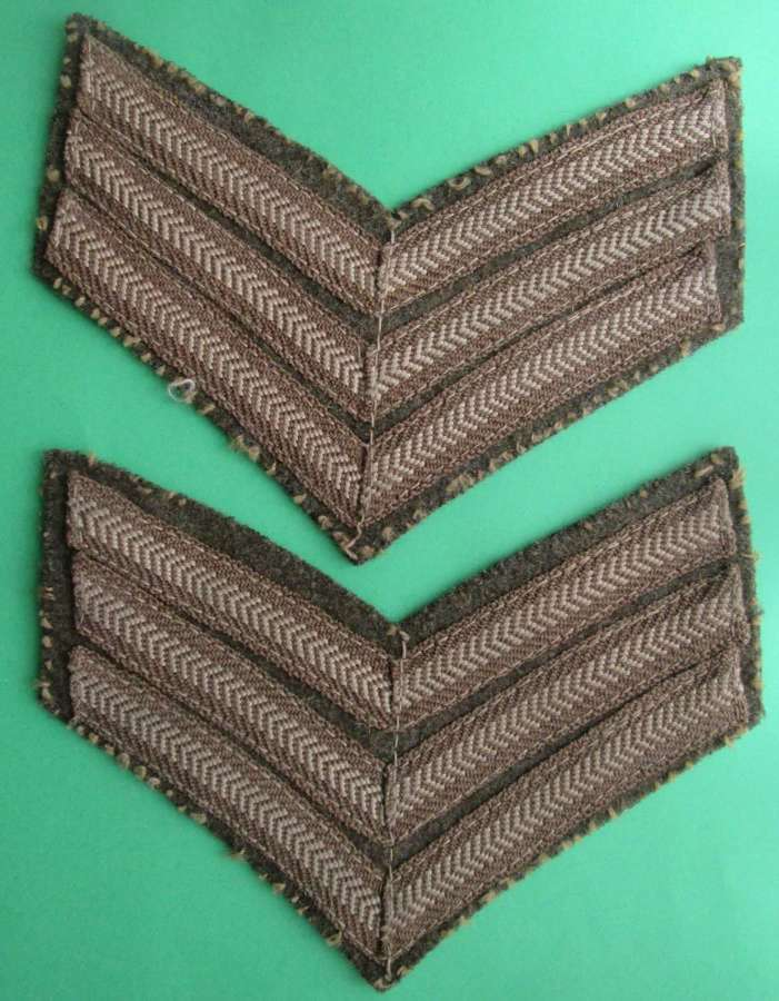 A GOOD MATCHING PAIR OF SGTS STRIPS WWII PERIOD