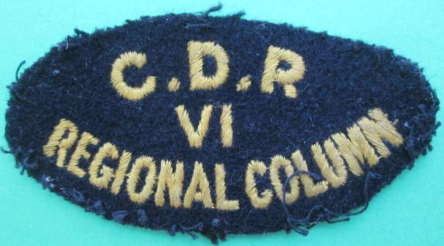 A WWII CIVIL DEFENCE RESCUE AREA 6 REGIONAL COLUMN BADGE
