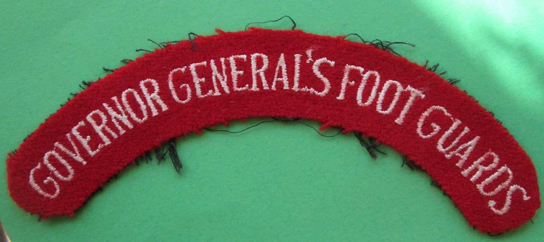 GOVERNOR GENERAL'S FOOT GUARDS SHOULDER TITLE