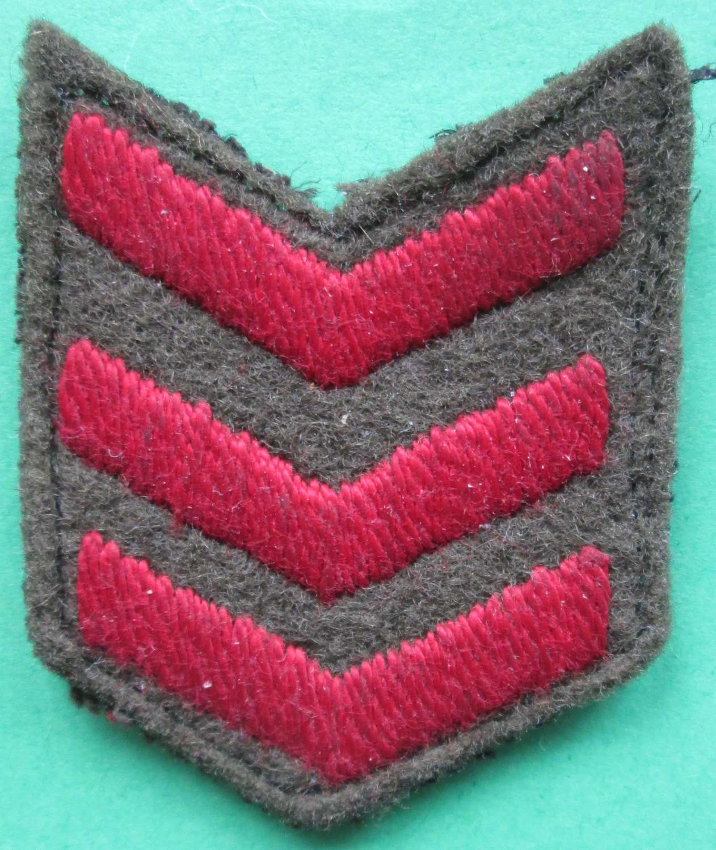 A SET OF 3 WWII WAR SERVICE STRIPS