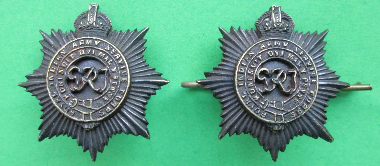 A PAIR OF ROYAL INDIAN ARMY SERVICE CORPS COLLAR DOGS