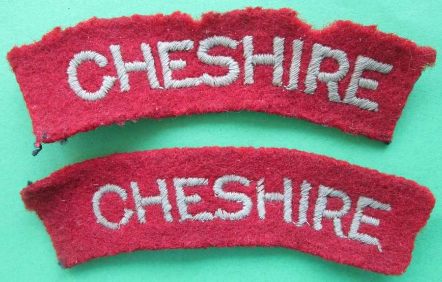 A PAIR OF CHESHIRE REGIMENT PASTE BACKED SHOULDER TITLES