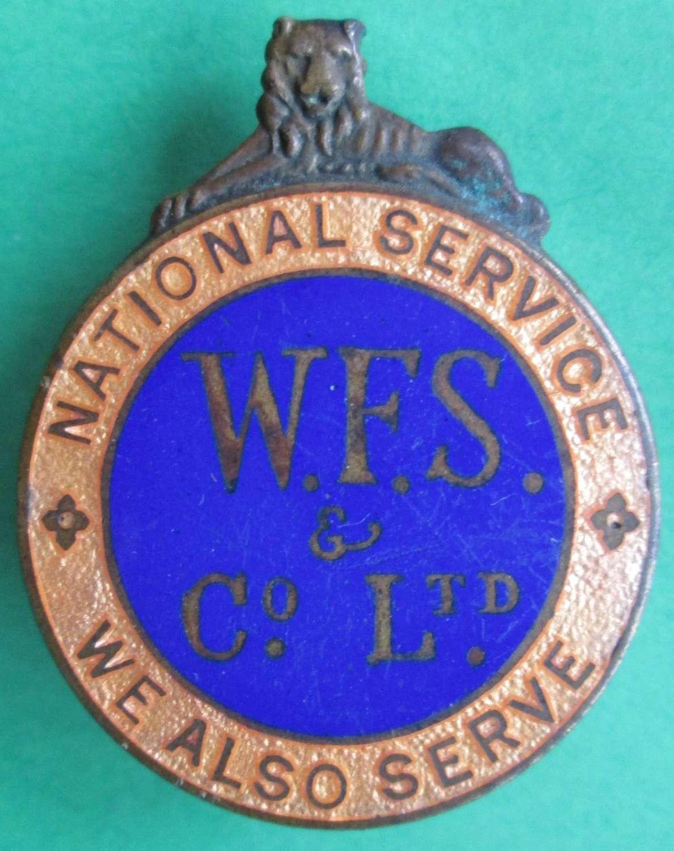 AN ON WAR SERVICE LAPEL BADGE FOR WFS CO LTD
