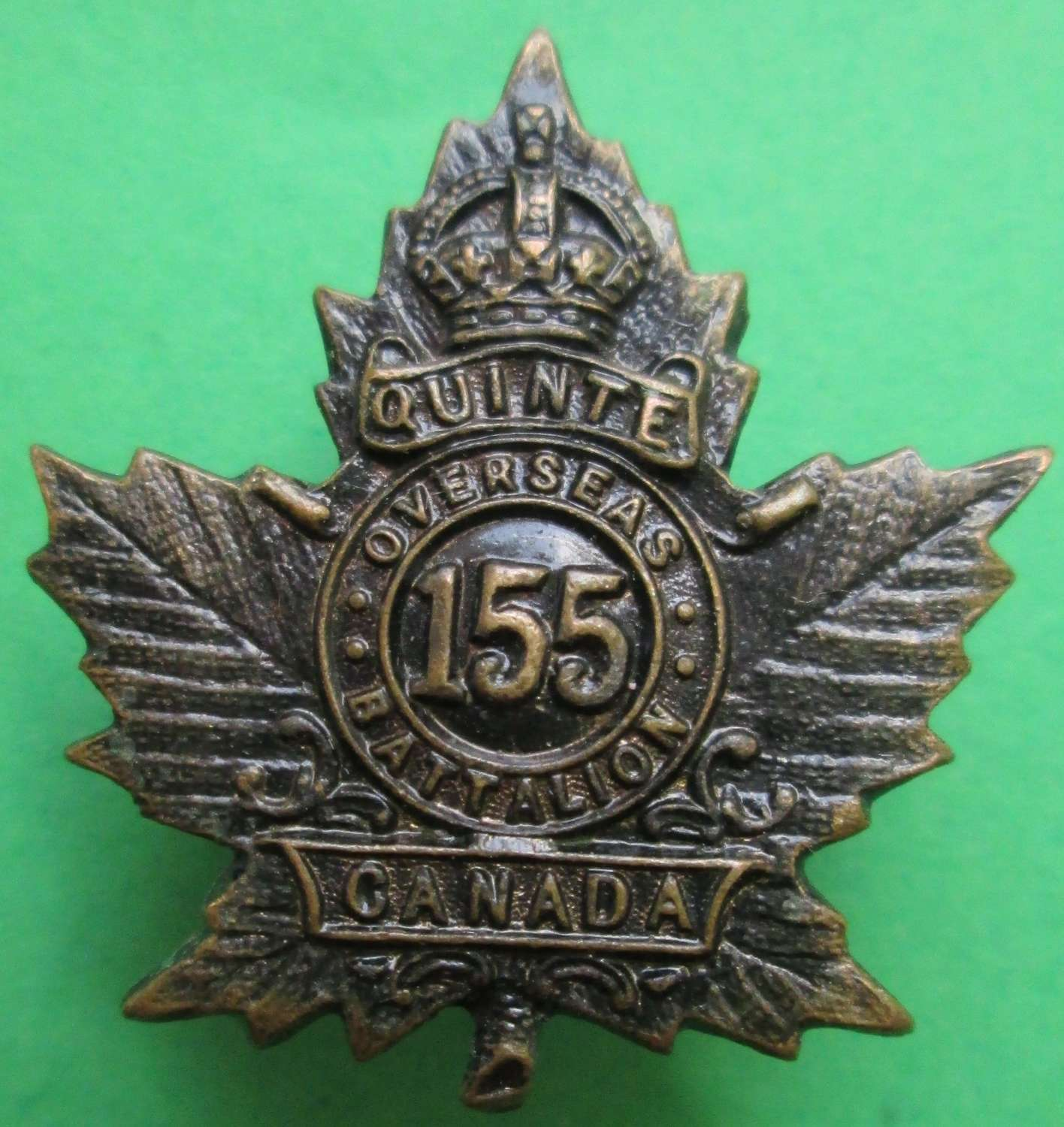 A CANADIAN 155TH INFANTRY BATTALION BADGE