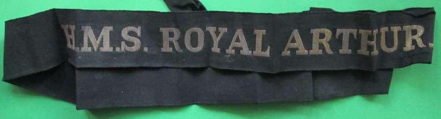 H.M.S ROYAL ARTHUR NAVAL CAP TALLY