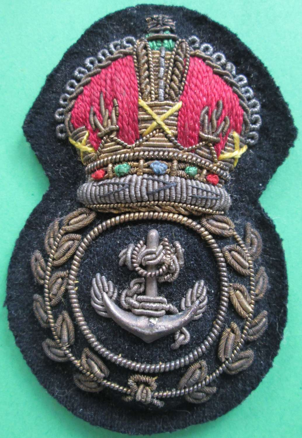 A  PRE 1952 ROYAL NAVY CHIEF PETTY OFFICERS BULLION WIRE CAP BADGE